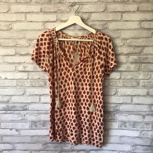Lucky Brand Patterned Boho Peasant Top Sz XS